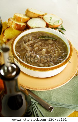 French onion soup freshly prepared with cheese toast ready to serve. - stock photo