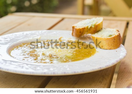 French onion soup with two sandwiches - stock photo