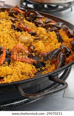 French paella on pan - stock photo