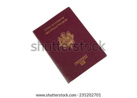 French passport on a white background - stock photo