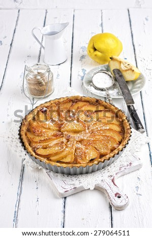French pastry with apple - Tart aux Pommes - stock photo