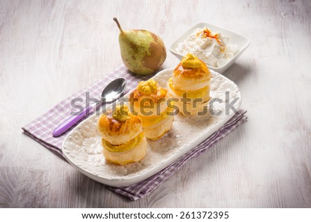 french pastry with pear and ricotta - stock photo