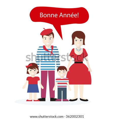 French people congratulations happy New Year. Family with child wish, national greeting country, person ethnic, traditional character clothes illustration. Raster version - stock photo
