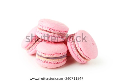 French pink macaron isolated on white - stock photo