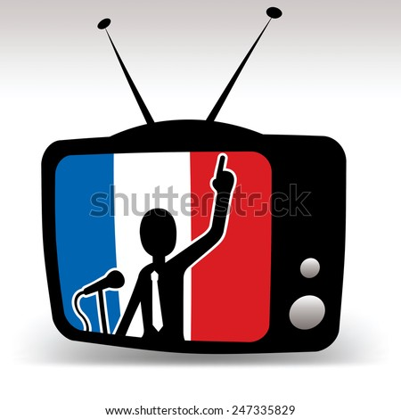 french politician on tv, man speaks on booth with french flag in background - stock photo