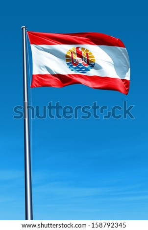French Polynesia flag waving on the wind