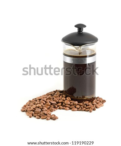 French press coffee maker - stock photo
