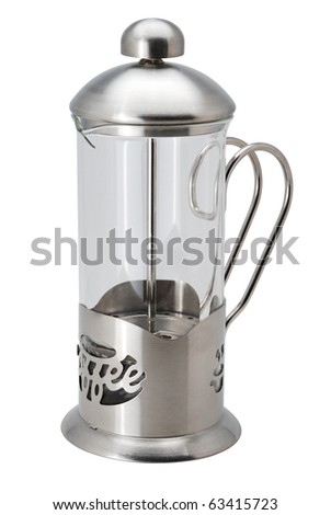 french press coffee maker isolated on white with clipping path - stock photo