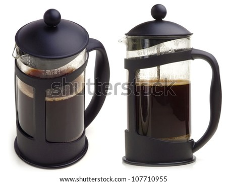 French press coffee maker on white background. In two scenes. - stock photo