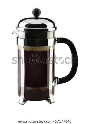 French press coffeemaker isolated on white - stock photo