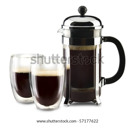 French press coffeemaker with two glass cups - stock photo