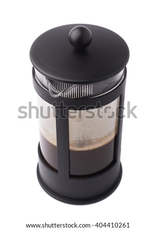 French press pot coffee maker filled with hot beverage composition isolated over the white background - stock photo