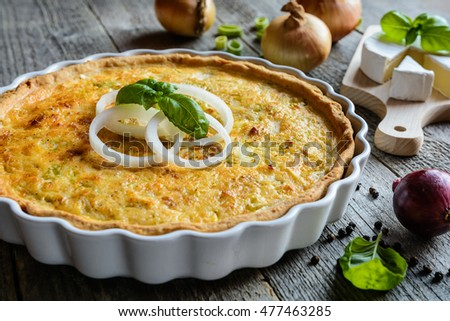 French Quiche with onion, Camembert, leek and eggs filling