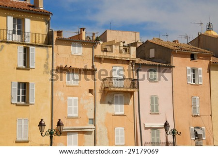 french riviera building facades - stock photo