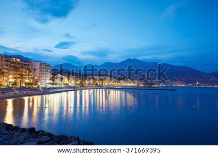 French riviera coast illuminated in a summer evening, Cap Martin