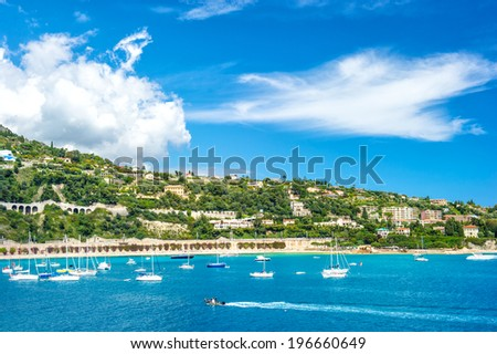 french riviera, view of luxury resort and bay of Villefranche-sur-Mer near Nice and Monaco - stock photo