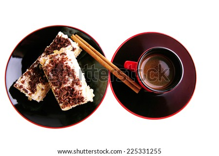 french roast coffee in red glass with chocolate cake - stock photo