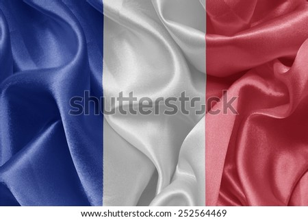 French satin flags. Flag of France.