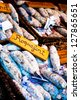 French sausages with roquefort cheese on the market, Risoul, France - stock photo