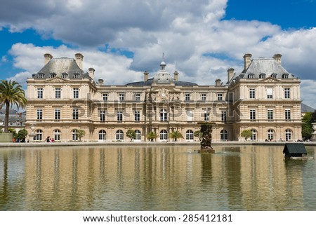 French Senate and the Jardin du Luxembourg, Paris, France - stock photo