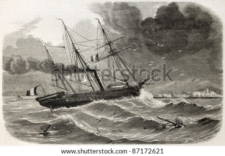 French ship Reine-Hortense transporting Duchess of Alba relics. Created by Lebreton, published on L'Illustration, Journal Universel, Paris, 1860 - stock photo