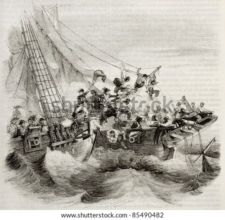 French shooner Courier boarding British ship Hazard. Created by Gudin, published on Magasin Pittoresque, Paris, 1842 - stock photo