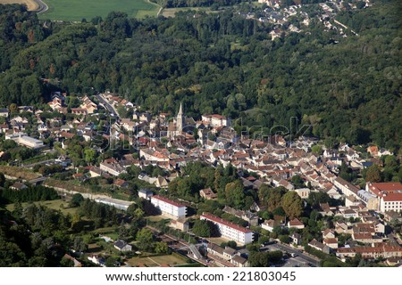 french small town aerial view with church - stock photo