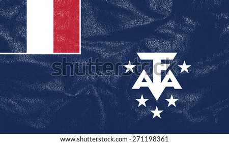 French-Southern-and-Antarctic-Lands flag on leather texture - world flag textured - stock photo