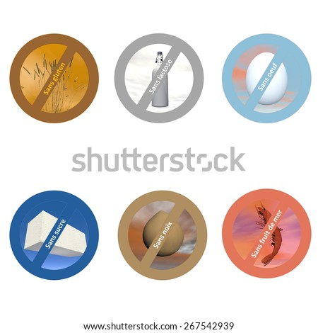 French stickers for allergen free products, such as gluten free, lactose free, wheat free, dairy free, sugar free, nut free, egg free and shellfish free - stock photo