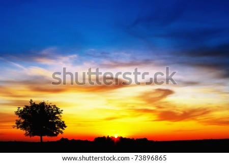 French sunset - stock photo