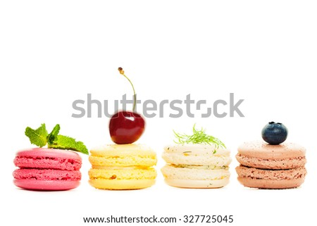 French Sweet Macaroons on White Background - stock photo
