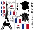 French symbols and icons collection. - stock vector