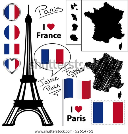 French symbols and icons collection. - stock photo