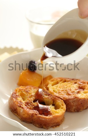 french toast and syrup - stock photo