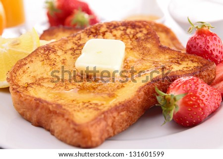 french toast with fruits - stock photo