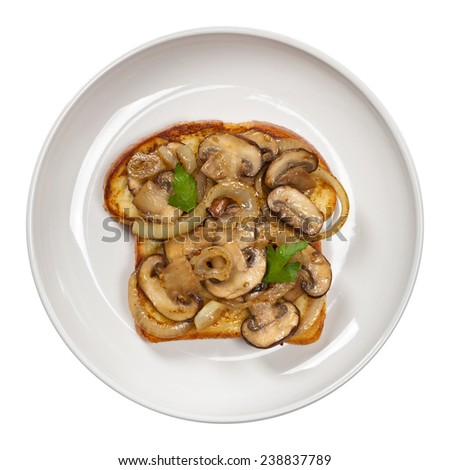 French Toast with mushrooms and onions. Isolated on white. Selective focus. - stock photo