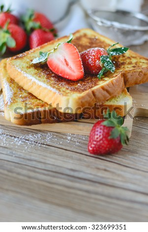 French Toasted with strawberry and Coffee, Breakfast Healthy