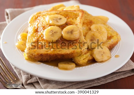 french toasts with caramelized banana for breakfast - stock photo