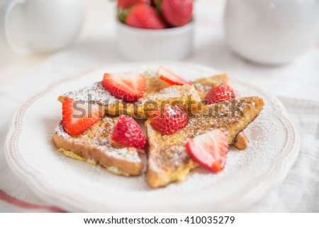 french toasts with fresh berries - stock photo