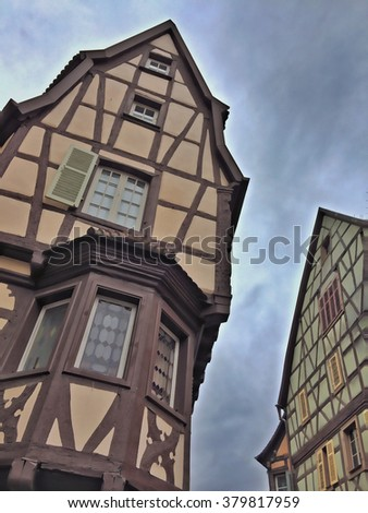 french traditional half-timbered houses in Colmar (Alsace) - stock photo