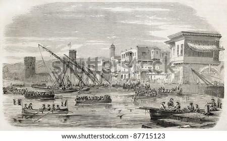 French troops landing in Beirut, old illustration. Created by Provost, published on L'Illustration, Journal Universel, Paris, 1860 - stock photo