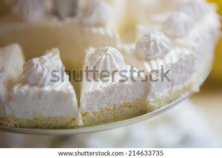 French vanilla meringue cookies. Macro with shallow dof. - stock photo