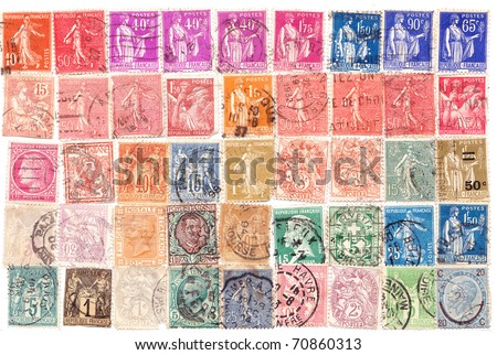 French various vintage collection of postage stamps. - stock photo