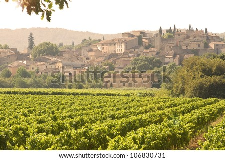 French Village in sunset, with vineyard. Provence.