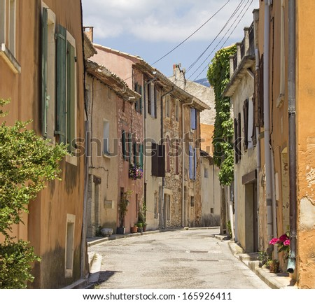 French village, typical street in Provence. France. - stock photo