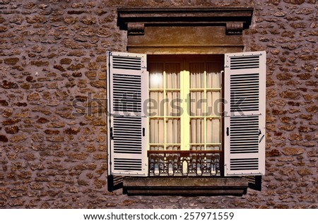 French Window with Open Wooden Shutter, Vintage Style Toned Picture - stock photo
