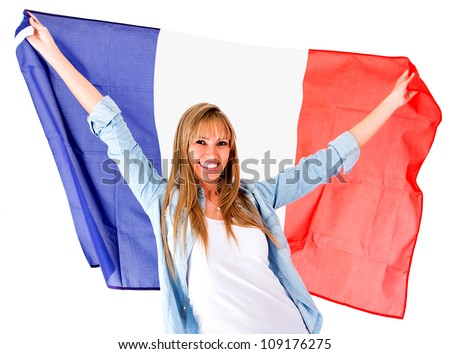 French woman holding the flag - isolated over a white background - stock photo