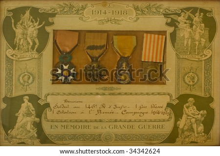 French world war 1 medals in original frame. - stock photo