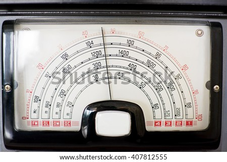 frequency indicator of an old radio - stock photo