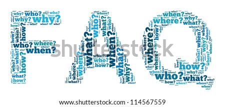 Frequent Ask Question in word collage - stock photo